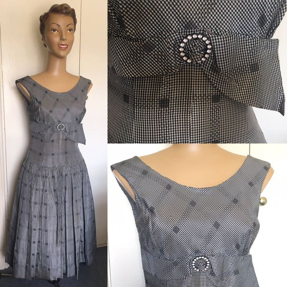 Original 1950's Black/ White Gingham Rayon Dress