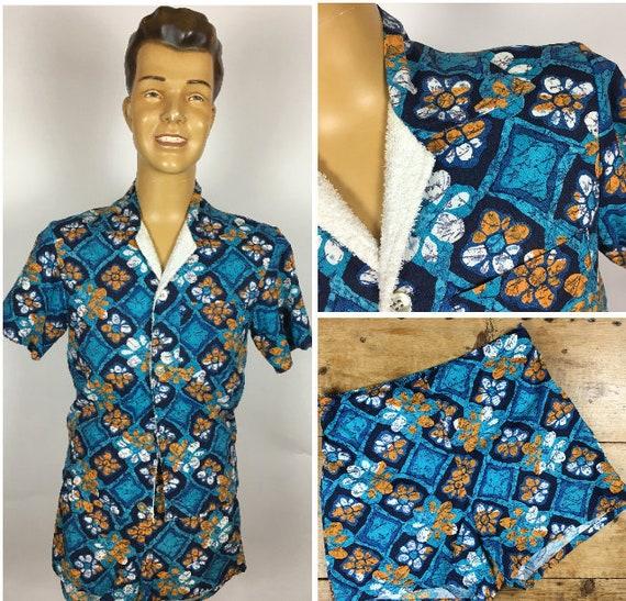 VINTAGE 1960's MENS CABANA Set Beach Shirt Shorts