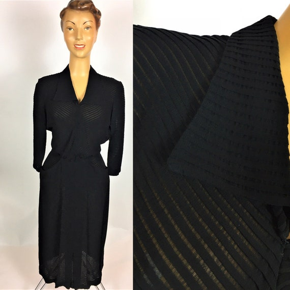 1940'S SHEER STRIPE RAYON Dress