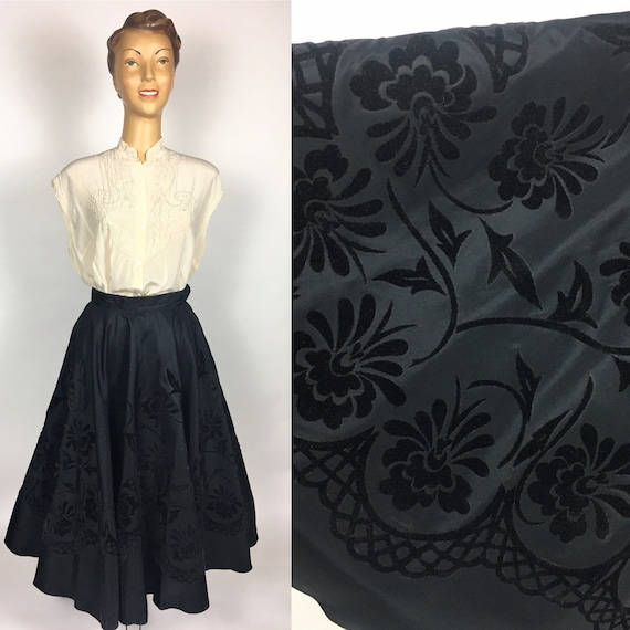 ORIGINAL FULL CIRCLE Black Flock Taffeta Skirt