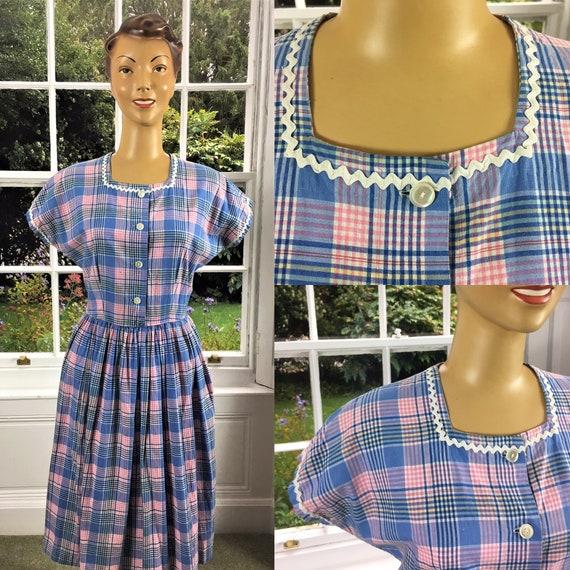 1950's SWEET COTTON PLAID Dress