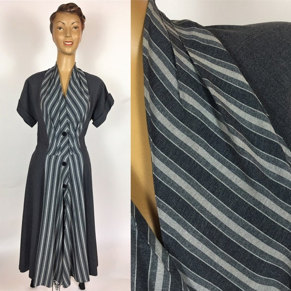 1940's GREY GABARDINE DRESS Original Finebro