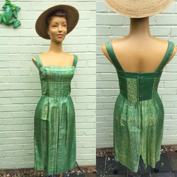 ORIGINAL 1950s ASIAN TIKI Wiggle Dress Xs