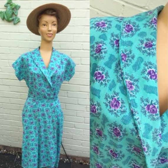 ORIGINAL 1950s COTTON WRAP Chore Dress