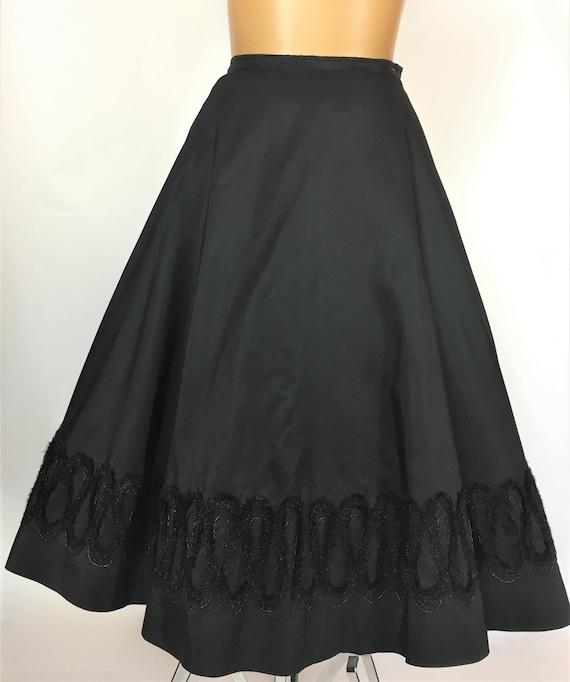 1950'S BLACK RAYON TAFFETA Skirt