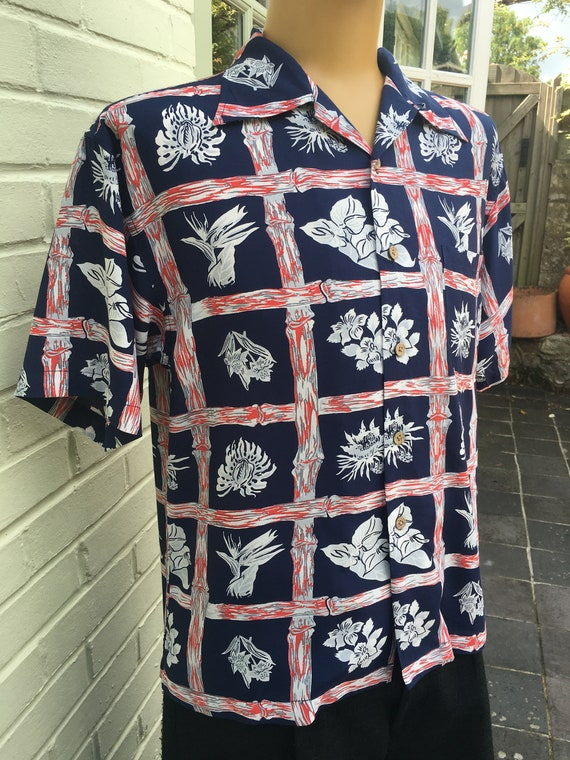 1950's STYLE RAYON ALOHA Print Shirt - image 2