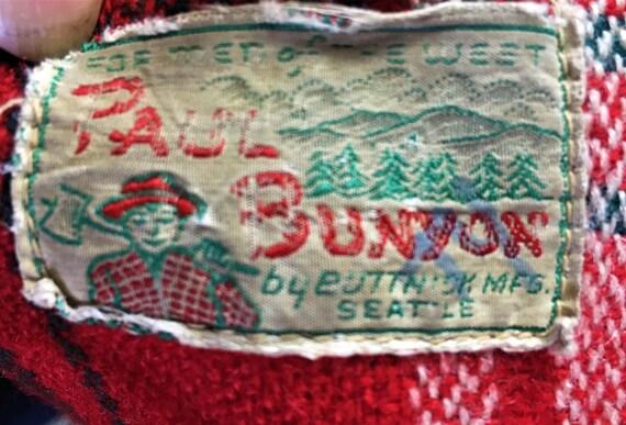 RED PLAID JACKET Wool 1940's/ 1950's Paul Bunyon - image 9
