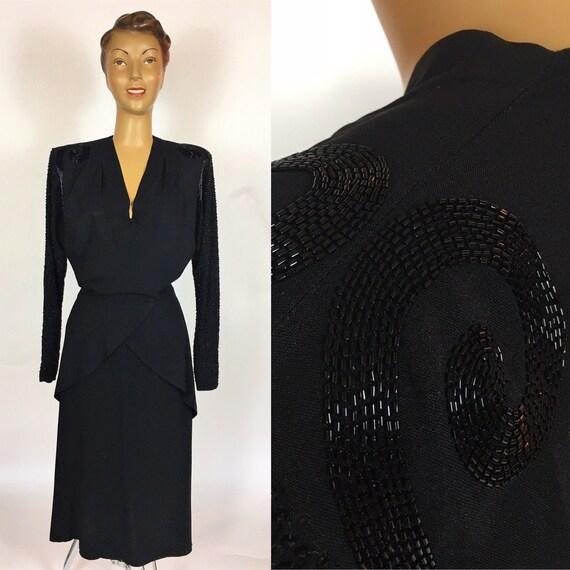 1940'S BLACK BEADED RAYON Dress Peplum