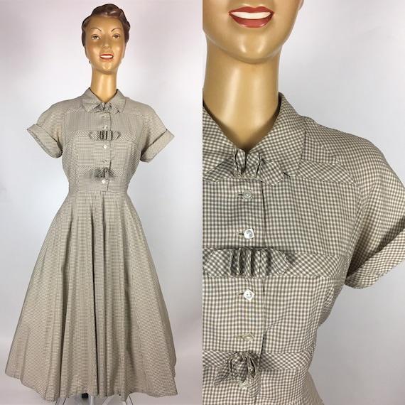 ORIGINAL 1950s BROWN GINGHAM Cotton Dress