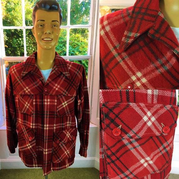 RED PLAID JACKET Wool 1940's/ 1950's Paul Bunyon