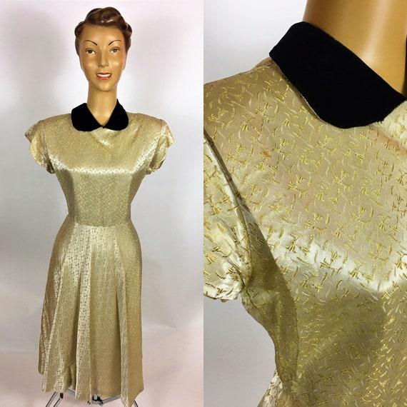 ORIGINAL 1950S GOLD SATIN Brocade Dress