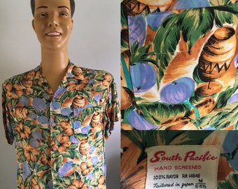 ORIGINAL 1950'S SOUTH PACIFIC  Hand Screened Rayon Shirt