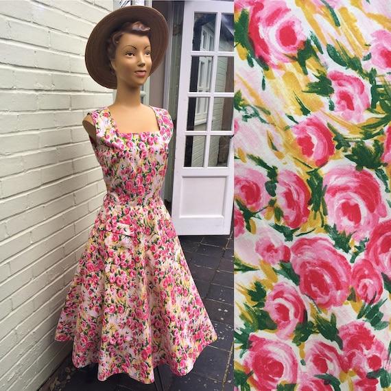 ORIGINAL 1950s COTTON ROSE Floral Print Dress