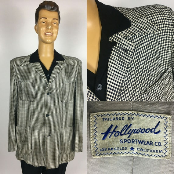 ORIGINAL 1940's 1950's HOLLYWOOD HOUNDSTOOTH Wool