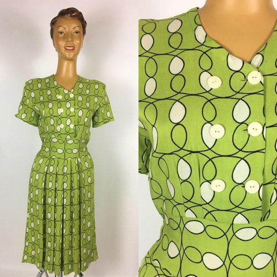 ORIGINAL 1940s/ 50s LINEN PRINT Dress