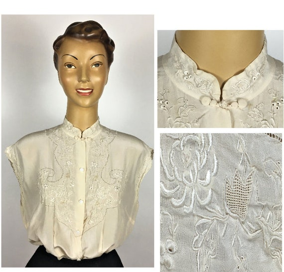 1940's/ 50's SILK EMBROIDERED BLOUSE