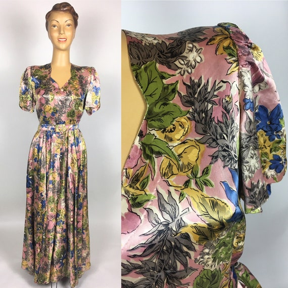 ORIGINAL 1930s/ 40s FLORAL Silk Satin DRESS