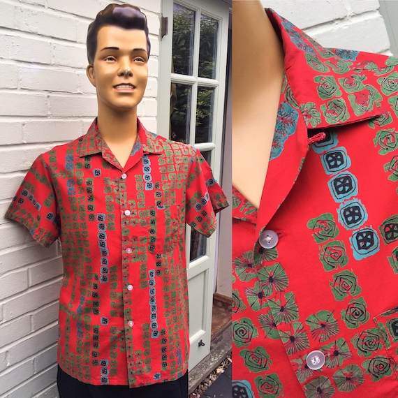 ORIGINAL 1950's ATOMIC PRINT Shirt Pilgrim