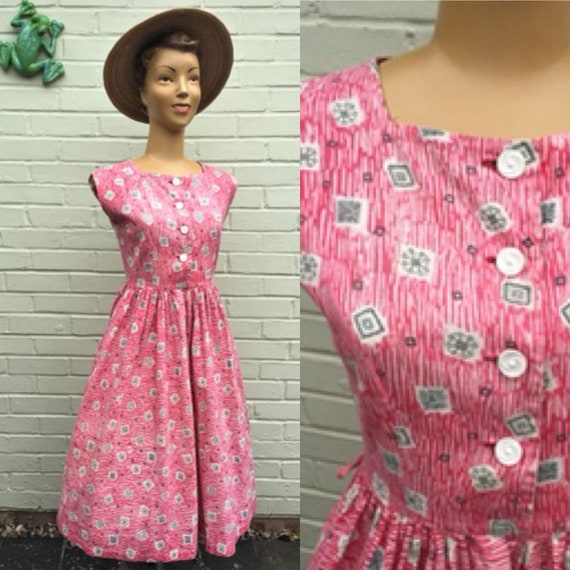 ORIGINAL 1950s NOVELTY COTTON Print Dress