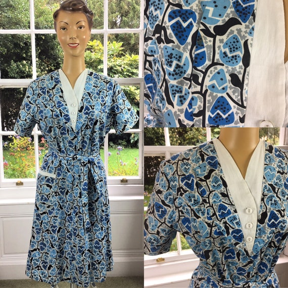 1950's COTTON ATOMIC PRINT Dress