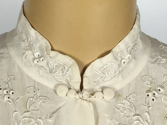 1940's/ 50's SILK EMBROIDERED BLOUSE - image 5