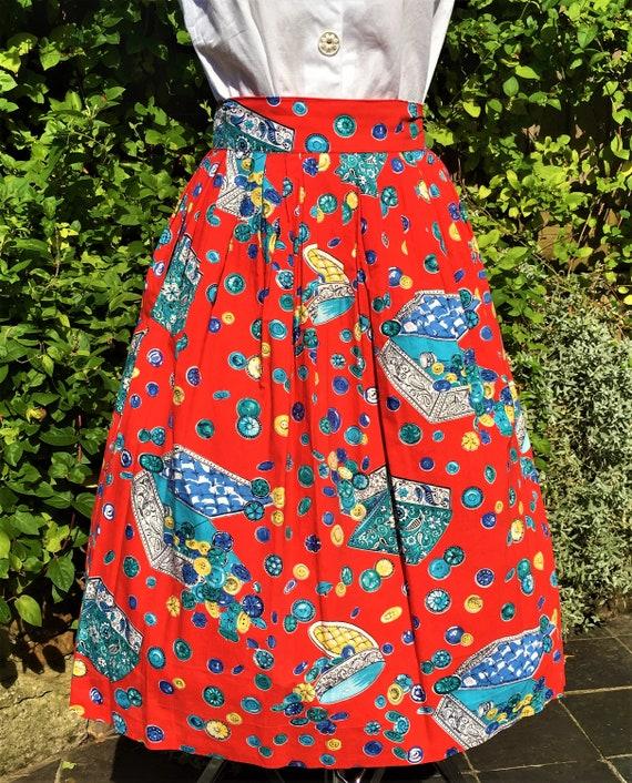 1950'S NOVELTY BUTTON Print Cotton Skirt - image 6