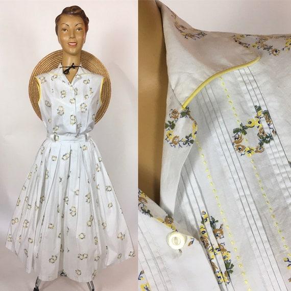 1950's COTTON PRINT Blouse & Skirt Set