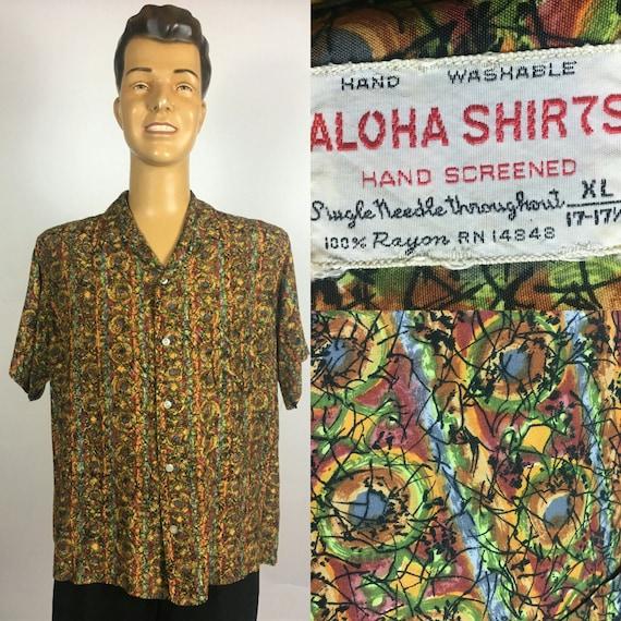 ORIGINAL 1950's 1960's ALOHA Shirt Rayon Hawaiian