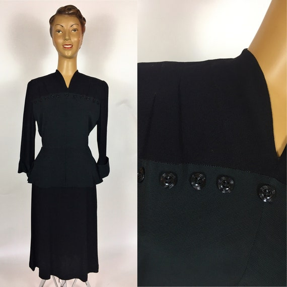 1940'S BLACK RAYON PEPLUM Dress