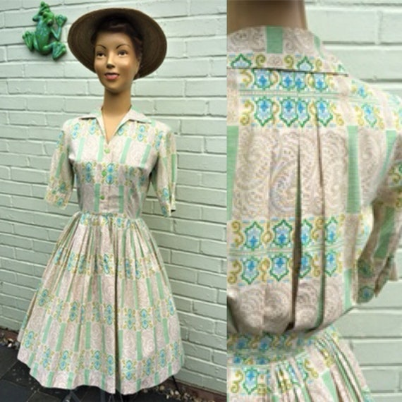 ORIGINAL 1950s COTTON Print Dress