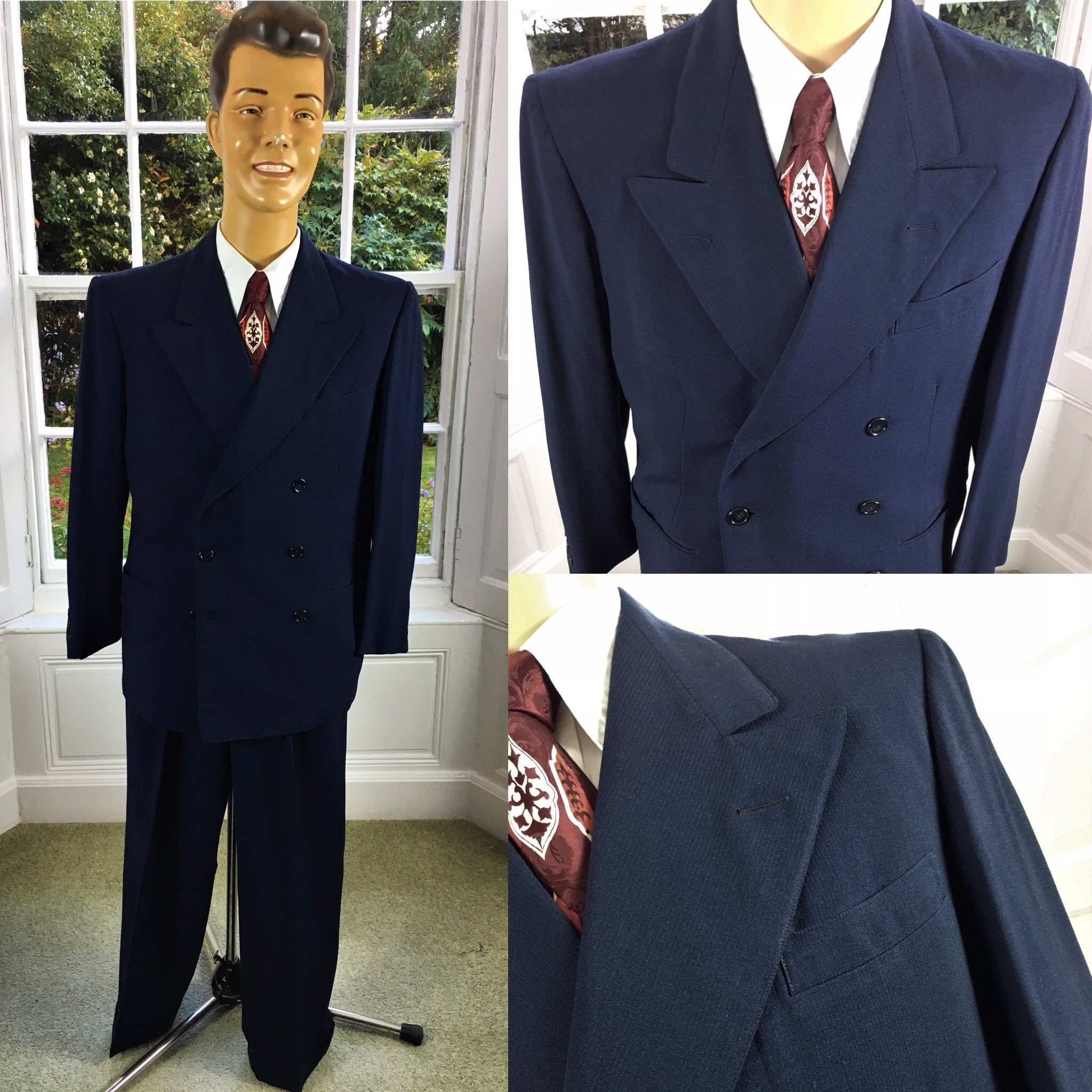 1940 ' s DOUBLE BREASTED texturé costume pour bleu homme bleu pour foncé bc6745