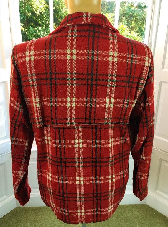 RED PLAID JACKET Wool 1940's/ 1950's Paul Bunyon - image 6