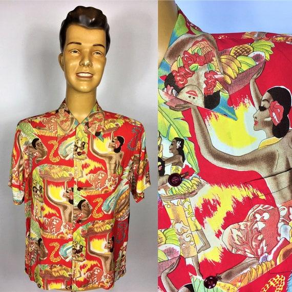 SUN SURF RAYON Aloha Men's Hawaiian Shirt Waikiki