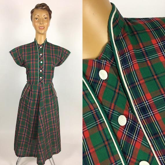 1940's/ 1950's COTTON PLAID DRESS Penney's