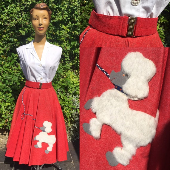 1950'S FELT POODLE Full Circle Skirt