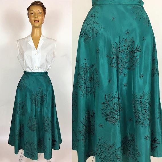 1950's RAYON FLOCKED PRINT Skirt Xs