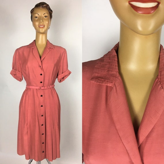 ORIGINAL 1940s/ 50s RAYON DRESS