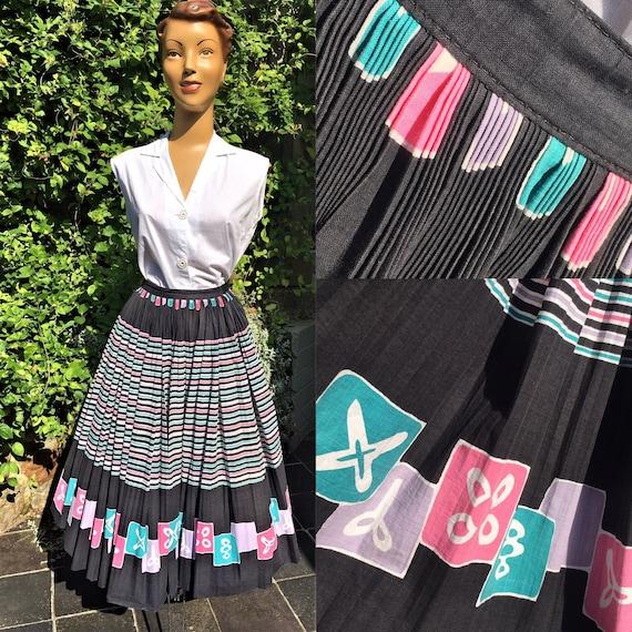1950'S COTTON NOVELTY Print Full Circle Skirt