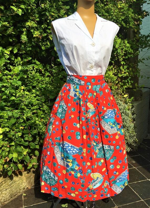 1950'S NOVELTY BUTTON Print Cotton Skirt - image 4