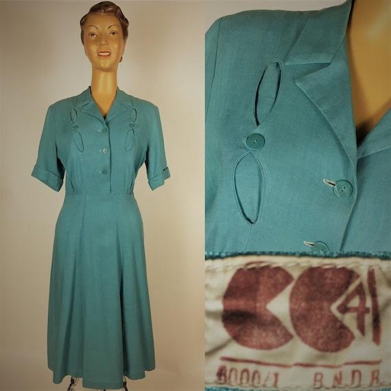 ORIGINAL CC41 1940s LINEN DRESS