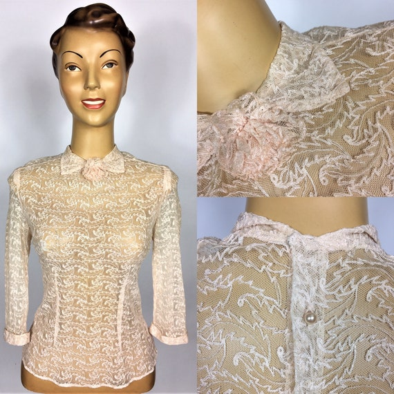 1940's STRETCH EMBROIDERED Blouse XS Bernella