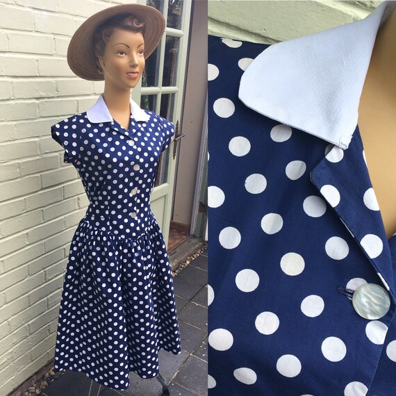 1950s COTTON SPOT PRINT Dress
