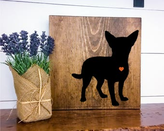 Chihuahua Silhouette Hand Painted Stained Wood Sign, Dog Decor, Gift for Dog Lover, New Puppy Gift, Dog Sign Decor, Housewarming Gift