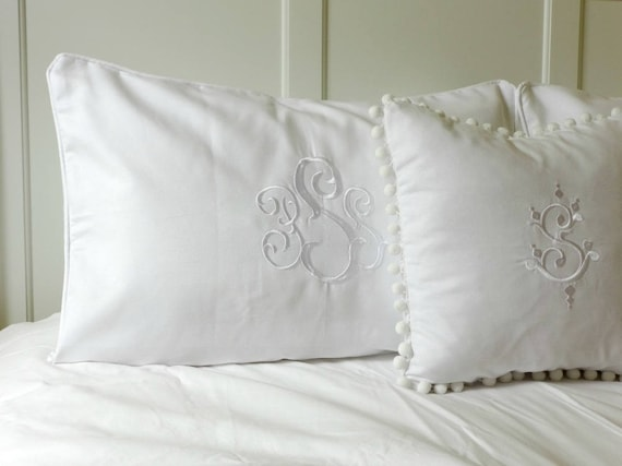 pillow shams piped with monogram white welting bed pillow etsy