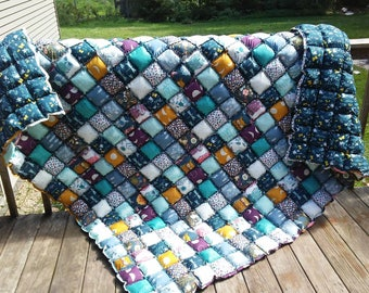 Rag Puff / Puff/ Biscuit Quilt - Nightfall Owl Rabbit Blue Floral Teal Mustard Vintage Inspired -Custom Order Twin Queen King