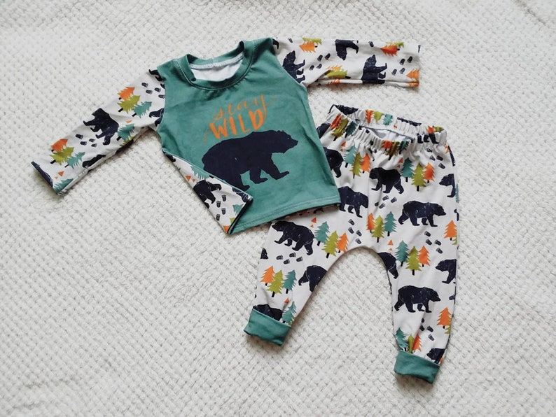 51e5d3a4c86b4 6-9 month bear t-shirt and harem style pants set. Baby boy, country baby  clothes, first birthday outfit, stay wild, baby shower, wild child
