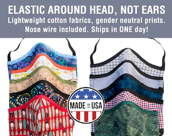 Lightweight Mask with No Ear Loops - Ready to Ship, Nose Wire, Adjustable Elastic, Free Shipping