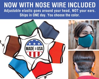No Ear Loops Cloth Face Mask - Ready to Ship, Nose Wire, Adjustable Elastic, Free Shipping