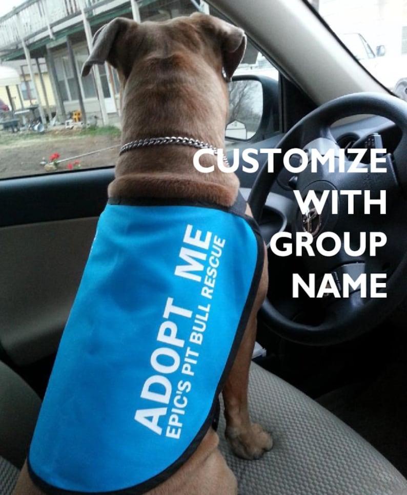 Adopt Me Dog Jacket Vest with GROUP NAME or WEBSITE image 0