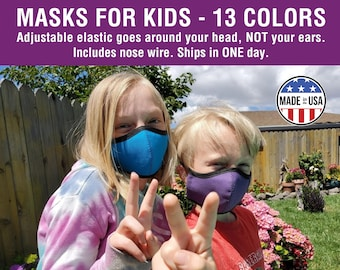Kids' Masks with No Ear Loops - Ready to Ship, Nose Wire, Adjustable Elastic, Free Shipping